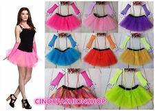 80's Neon UV Adult Tutu Skirt Beads Hen Fancy Dress Party Costumes 3PCS/Set Hot