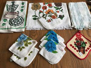 NOS Vintage Cotton Terry Cloth Kitchen Bath Hand Towels & Wash Cloths Potholder