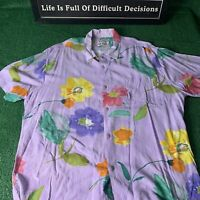 JAMS WORLD Hawaiian Shirt Flower Print Vintage Size XL Made In USA 90s Island