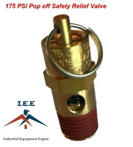 American Made Hard Seat Safety Relief Pop Off Valve 225 PSI 1//4 NPT 188 CFM