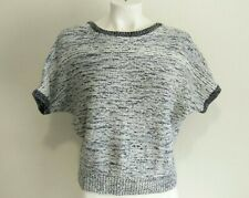 Banana Republic Women's Short Sleeve Cotton Sweater Marled Blue & White Size XS