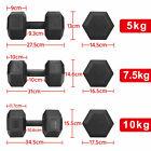 2x 5KG/7.5KG/10KG Hexagon Dumbbells Pair of Gym Weights Dumbells Exercise Home