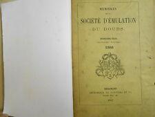 Mémoires société d'émulation du Doubs 1867,  reliure d'études,  Franche-Comté