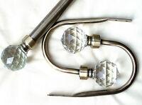 60mm Large Brass Cut Glass Crystal Ball Curtain Tiebacks Hold backs Finials Ring