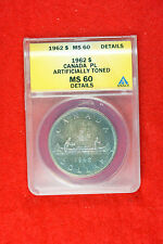 1962 ANACS MS60 Canada KM-54 Monster Toning Silver Dollar FT