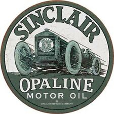 Sinclair Opaline Motor Oil Round Tin Metal Sign Vintage Shop Garage Wall Gas Ad