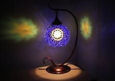 Large Unique Mosaic Swan Table Lamp Multi Coloured Glass