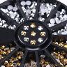 3D Nail Art Decoration in Wheel Gold Silver Rhinestones Round Flat Bottom Tips