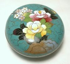 Inaba Cloisonne Round Trinket Box Turquoise Green Floral Japanese Signed