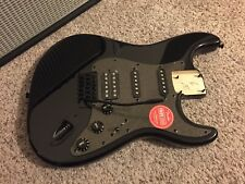 Fender HSS Squier Stratocaster BODY Strat Met Blacked Out - LOADED + neck plate!
