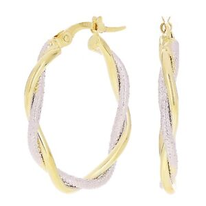 Italian 14k Yellow & White Gold Lattice Shine Twisted Hollow Oval Hoop Earrings