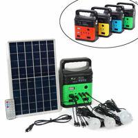 Solar Power Panel Generator LED Light USB Charger Home System Outdoor/Garden FM