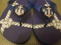 Miss Trish of Capri Womens nautical jewel flip flops- sandals Size 9 signed logo
