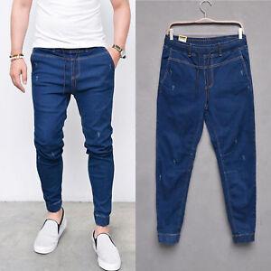 Men Slim Fit Stretch Elastic Waist Jeans Long Pants Casual Jogger Biker Trousers