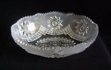 Antique Oval Pressed Glass Bowl 24 cm wide : C19th  Half Frosted Design