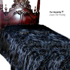 Black Shag Faux Fur Bedspread, Luxury Soft Faux Fur, Minky Lining, Queen Size