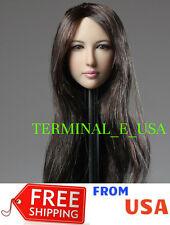 "Dreamer 1/6 Scale Female Head sculpt Long Brown Hair For 12"" PALE PHICEN ❶USA❶"