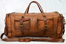 Vintage leather luggage travel weekend duffle gym safari bag genuine backpack