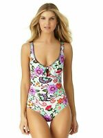 Anne Cole Colorful Floral Plunge Cut-Out Bust Tie 1 Piece Size 6 Swimsuit NWT$98