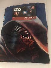 Disney Star Wars two Piece Bath Set Towel Wash Cloth Light Saber, BB8,Kylo Ren