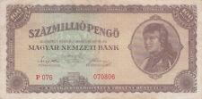 Billet banque HONGRIE HUNGARY MAGYAR 100 MILLIO PENGO 1946 état voir scan 806
