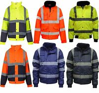 MENS LADIES HI VIZ VIS VISIBILITY WORK WATERPROOF PADDED HOODED JACKETS S TO 4XL