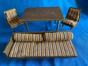 Vintage Mattel Mid Century Modern Bed Couch Bolsters Chair Table Lot Barbie Doll