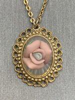 "Signed 1928 Gold Tone Pink Porcelain Rose Glass Drop Pendant Necklace 16"""