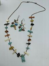 Santo Domingo Bear Fish Turtle Frog Heishi Fetish Necklace & Earrings Set 27""