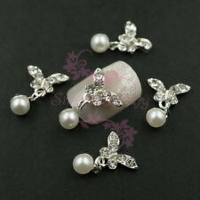 20 Butterfly Dangle Style Faux Pearl Beads Clear Rhinestones 3D Nail Art Charms