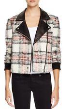 NEW $698 Piage Denim Farrah Bomber Leather & Rosette Plaid Jacket Size Large
