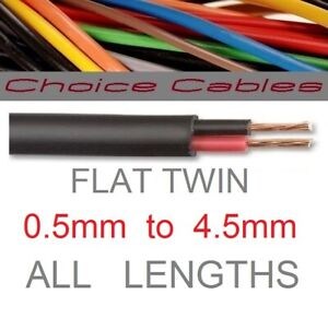Flat Twin 2 Core Thin Wall Cable 12v Auto Thinwall Vehicle Wire, Amp, All Sizes