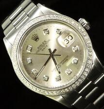 Rolex Date Midsize Oyster Perpetual Stainless Steel Diamond Dail Bezel