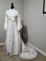 Vintage Wedding Dress Ivory Bell Sleeve Prairie Lace Satin Empire Detach Train