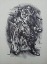 Mariette LYDIS : le mendiant - GRAVURE - Signée - 1947