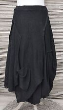 *ZUZA BART*DESIGN HAND MADE LINEN LAYERING QUIRKY BEAUTIFUL SKIRT**BLACK** L-XL