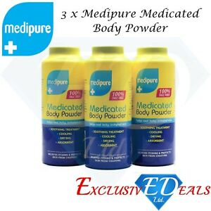 3 x 200g Medipure Medicated Body Powder 100% Talc Free Helps Irritated Skin