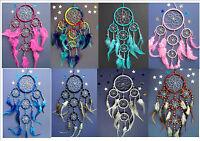 DREAM CATCHER SILVER WEB choose colour RAINBOW PINK BLUE BLACK DREAMCATCHER etc.