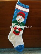 Pattern Only Hand Knitted Mrs. Snowman Christmas Stocking