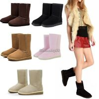 UK Women's Winter Warm Shoes Mid Calf Boots Fashion New 5 Sizes Suede Snow Boots