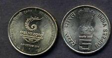 INDIA 5 Rupees Delhi 2010 XIX Commonwealth Games UNC