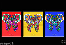 Peter Max Interpretation/Tryptic Poster/Colorful Butterfly/Psychedelic POP ART