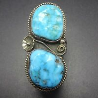 Vintage NAVAJO Sterling Silver & Blue Kingman TURQUOISE RING, size 9, 12.7g
