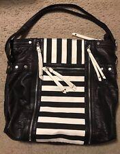 LD-Le Donne Adjustable Strap Black/White Stripe Leather Tote-Shoulder/Cross body