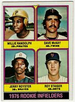 1976 ROOKIE INFIELDERS WILLIE RANDOLPH ROYSTER MCKAY TOPPS BASEBALL CARD #592
