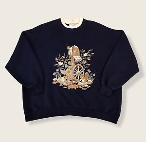 Vintage 90's Morning Sun Squirrel Autumn Fleece Lined Grandma Sweatshirt Medium