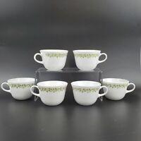 Corelle VTG Coffee Tea 8 Oz Cups Green Crazy Daisy Spring Blossom Set of 6 MINT
