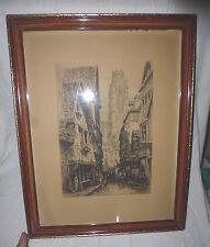 gravure eau forte CHARLES PINET (1867 - 1932 ) Rouen, rue Damiette 46x36cm