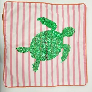 Pottery Barn Teen Sea Turtle Pillow Sham Cover Sequins Zip Off 2014 pink stripes