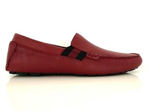 Gucci Men's Luxury Shoes Loafers Moccasins Red Logo Strips Red Eu 43,5/9,5 New